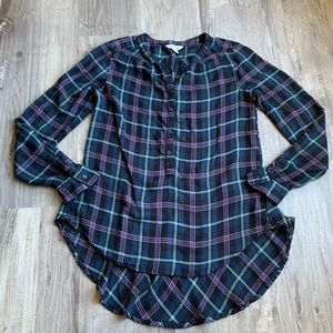 Lucky Brand Plaid Flannel Popover Top Hi Low Hem S
